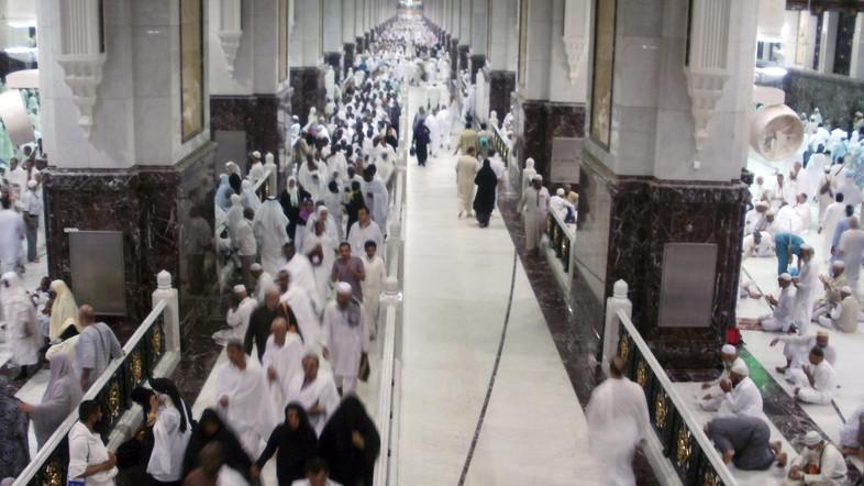 Muslim pilgrims walk at Al-Safa and Al-Marwah during the annual haj pilgrimage in Mecca